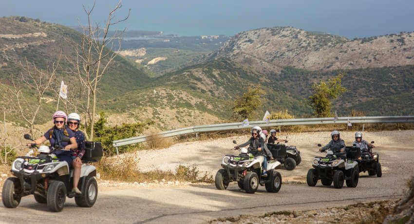 Starting the quad safari going uphill at North Corfu
