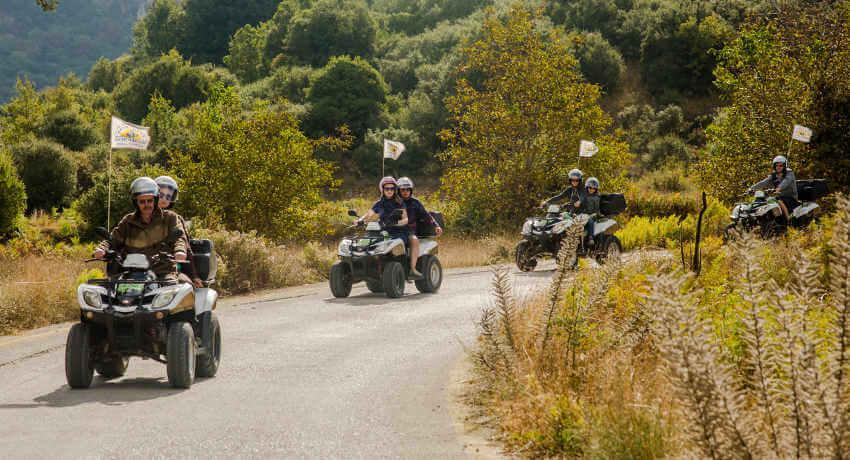 The return driving downhill in North Corfu on Sunriders quad safari